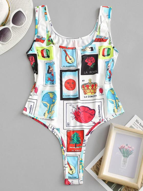 Letter Sun Figure Sleeveless Bodysuit - أبيض S