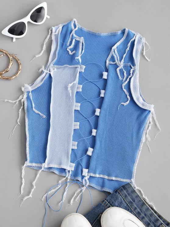 Rib-knit Lace-up Colorblock Topstitching Crop Top - أزرق S