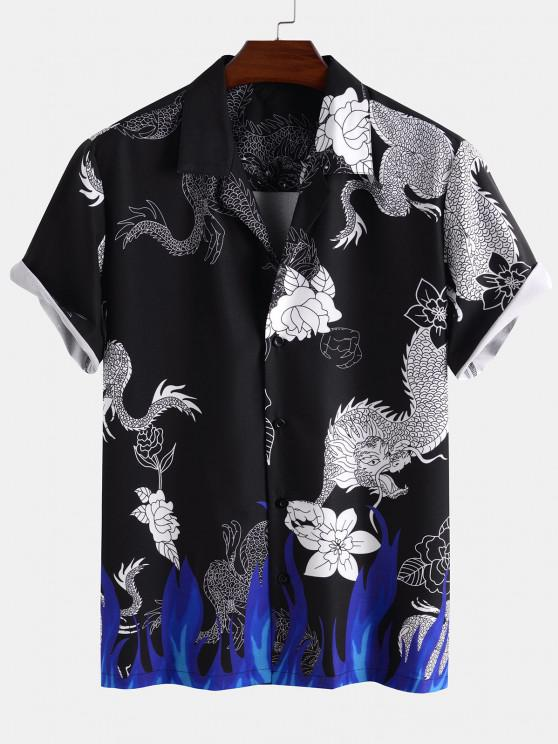 shops Dragon Flower Flame Print Short Sleeve Oriental Shirt - BLACK 2XL