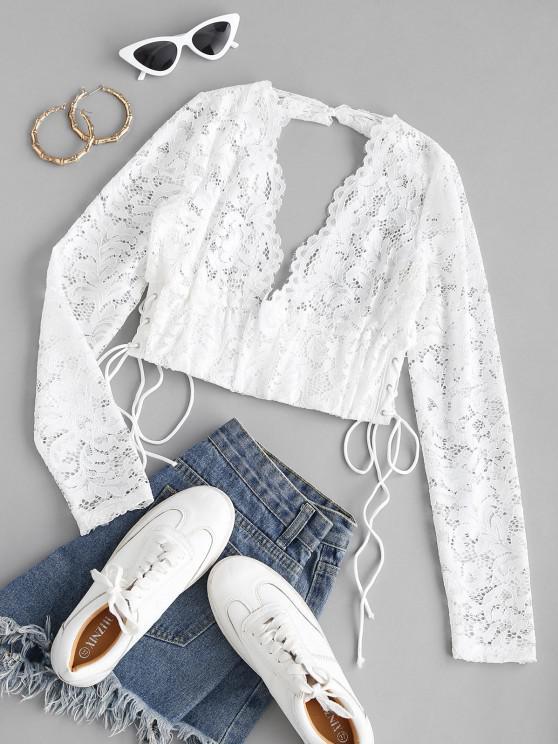 fashion Lace-up Open Back Tie Lace Crop Top - WHITE M