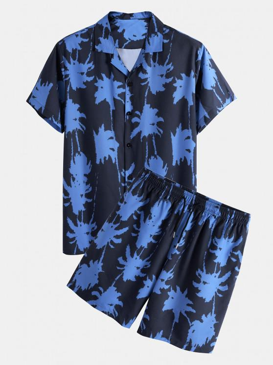 online Palm Tree Paint Print Shirt And Shorts Two Piece Set - BLUE 2XL