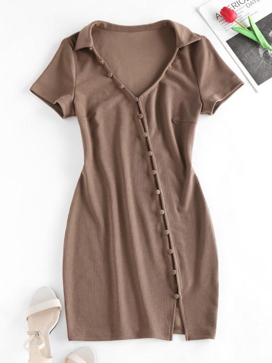 ZAFUL Loop Button Slit Mini Bodycon Dress - قهوة L