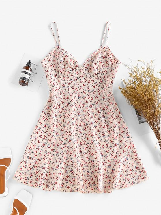 latest ZAFUL Ditsy Floral Ruched Bust Cami Summer Dress - MULTI S