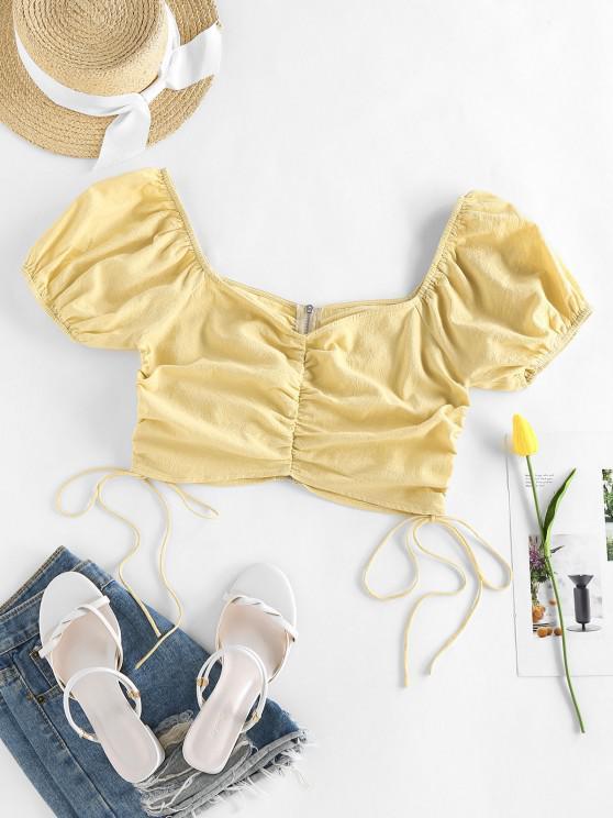 sale ZAFUL Puff Sleeve Cinched Zipper Crop Blouse - LIGHT YELLOW M