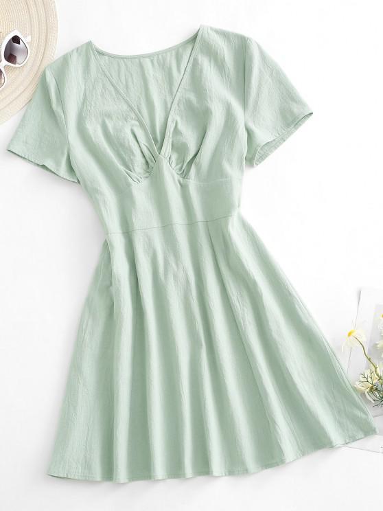 fancy ZAFUL Plunge Mini A Line Dress - LIGHT GREEN L
