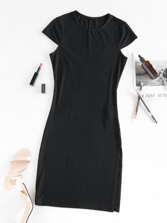 women ZAFUL Cap Sleeve Ribbed Slit Dress - BLACK S