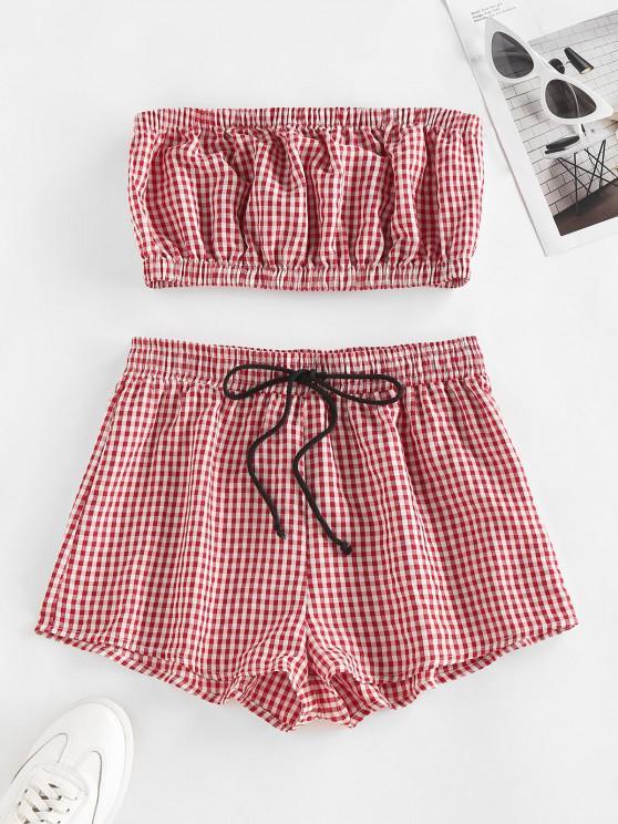 Top a Fascia e Pantaloncini a Quadretti con Coulisse di ZAFUL - Profondo rosso XL