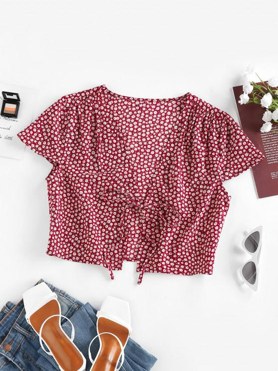 ZAFUL Ditsy Floral Tied Plunge Crop Blouse - أحمر عميق S
