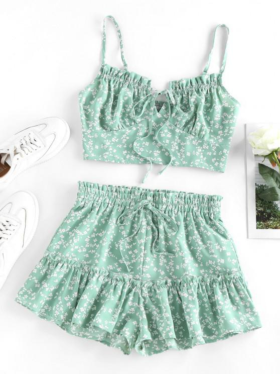 hot ZAFUL Ditsy Print Ruffle Smocked Loose Shorts Set - LIGHT GREEN XL