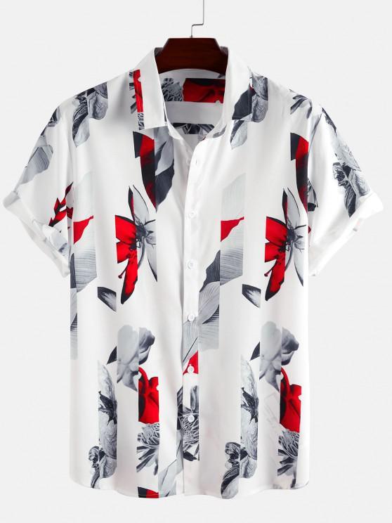 best Short Sleeve Flower Shirt - WHITE M