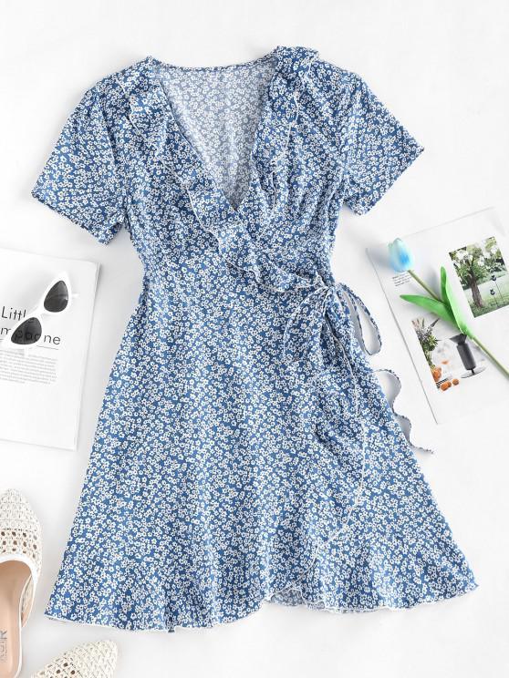 shop ZAFUL Ditsy Floral Ruffled Tie Wrap Dress - LIGHT BLUE S