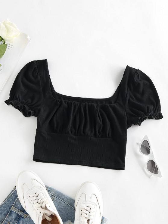 outfit ZAFUL Ribbed Ruffle Puff Sleeve Crop T Shirt - BLACK S