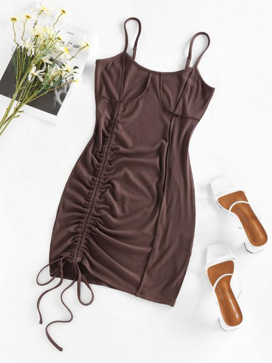women's ZAFUL Cinched Stitching Bodycon Slip Dress - COFFEE S