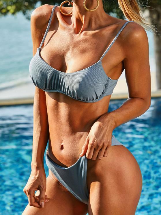 ZAFUL High Cut Ribbed Glitter Underwire Bikini Swimwear - أزرق فاتح S