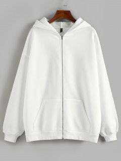 ZAFUL Manteau à Capuche Zippé à Goutte Epaule à Doublure En Laine - Blanc M