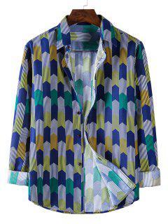 Long Sleeve Colorful Striped Print Shirt - Cobalt Blue 2xl