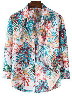 Tropical Flower Printed Long Sleeve Shirt - Blue Ivy 2xl