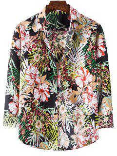 Long Sleeve Tropical Flower Print Shirt - Black L