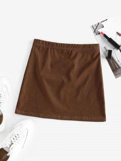 ZAFUL Elastic Waist Solid Mini Skirt - Coffee M