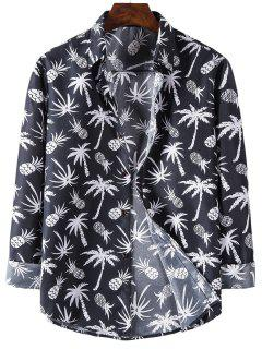 Palm Tree Pineapple Print Long Sleeve Shirt - Black L