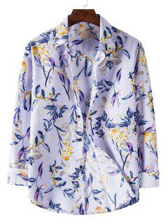 Long Sleeve Leaves Flower Print Shirt - Mauve L