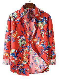 Long Sleeve Leaves Flower Print Shirt - Red M