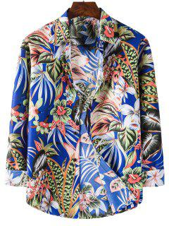 Long Sleeve Tropical Leaves Flower Print Shirt - Blueberry Blue Xl