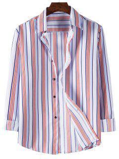 Long Sleeve Striped Print Shirt - Light Pink L