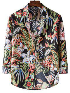 Long Sleeve Tropical Leaves Flower Print Shirt - Black Xl