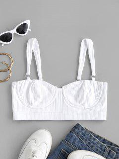 Rings Rib-knit Cropped Bustier Top - White S