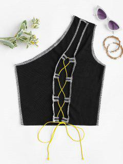 One Shoulder Lace-up Rib-knit Topstitching Top - Black S
