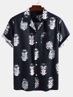 Skeleton Print Pocket Patch Short Sleeve Shirt - Deep Blue L