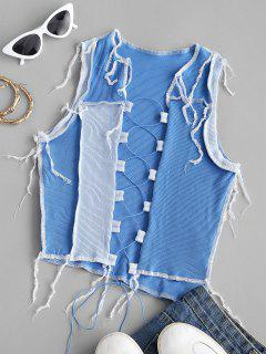Rib-knit Lace-up Colorblock Topstitching Crop Top - Blue S