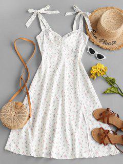 Ditsy Print Tie Shoulder Ruched Slit Dress - White S