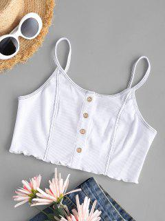 Topstitching Rib-knit Lettuce Trim Button Up Camisole - White S