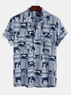 Camisa Manga Larga Estampado Océano Delfín - Azul Profundo S