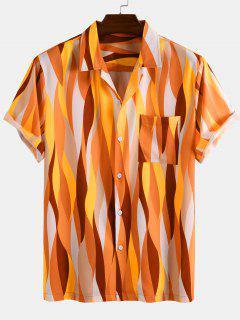 Short Sleeve Colorful Geometric Shirt - Yellow 3xl