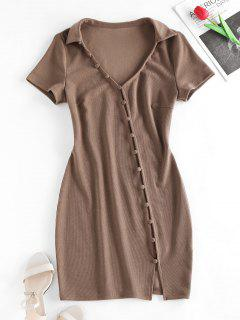 ZAFUL Loop Button Slit Mini Bodycon Dress - Coffee S