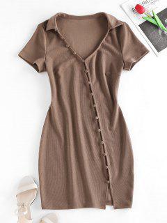 ZAFUL Vestido Ceñido De Botón Con Cordón Combinado - Café S