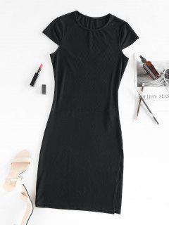 ZAFUL Cap Sleeve Ribbed Slit Dress - Black M