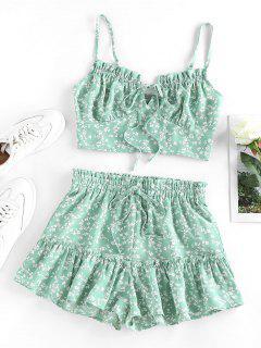 ZAFUL Set De Pijama Con Volantes Y Estampado De Flor - Verde Claro S