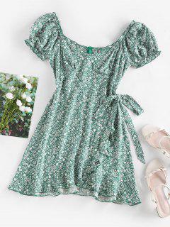 ZAFUL Ditsy Print Ruffle Puff Sleeve Bowknot Dress - Green M