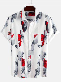 Camisa De Aspectos Florales Con Mangas Cortas - Blanco S