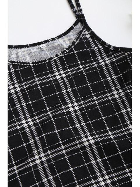 outfits ZAFUL Cinched Plaid Suspender Bodycon Skirt - BLACK L Mobile