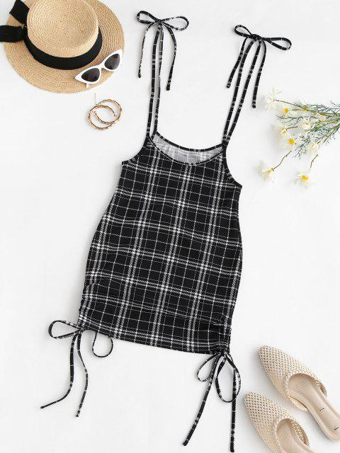 ZAFUL Cinched Plaid Suspender Bodycon Skirt - أسود M Mobile