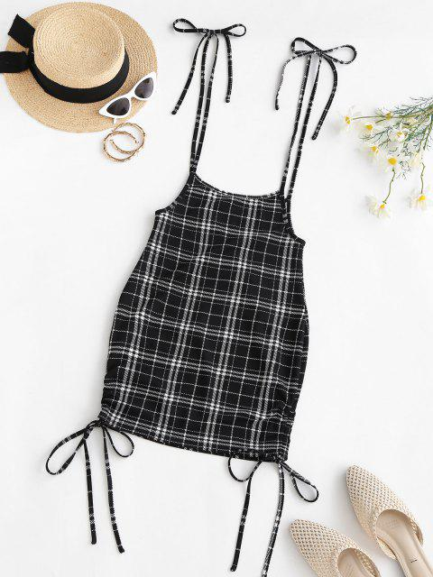 ladies ZAFUL Cinched Plaid Suspender Bodycon Skirt - BLACK S Mobile