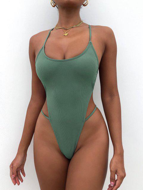 Costume da Bagno Incrociato a Costine con Taglio Alto di ZAFUL - Verde intenso M Mobile