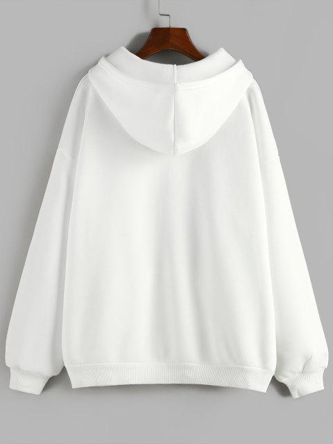 sale ZAFUL Fleece Lined Drop Shoulder Hooded Zip Coat - WHITE L Mobile