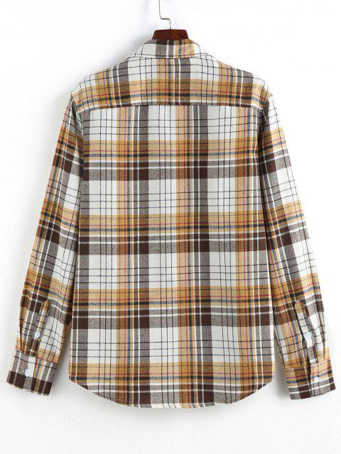 ladies ZAFUL Plaid Print Double Pockets Button Up Shirt - COFFEE M Mobile