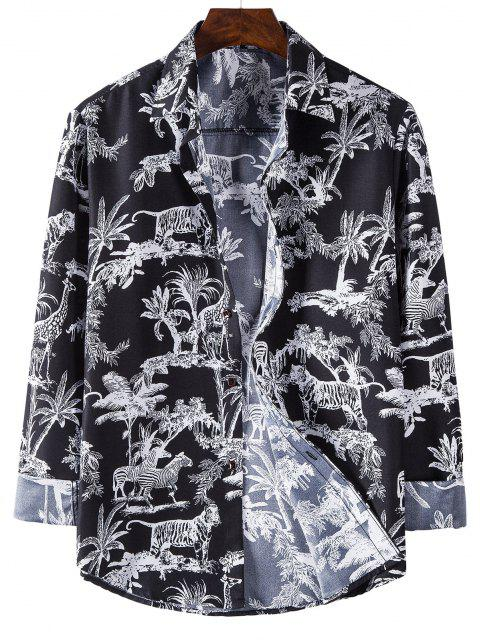 fancy Long Sleeve Jungle Animals Print Shirt - BLACK 2XL Mobile